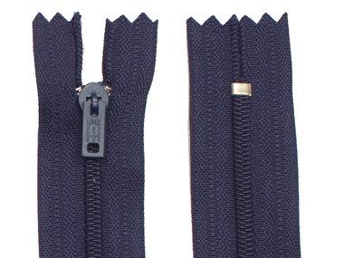 Niet-deelbare nylon rits 3 mm donker blauw (#919) 15 cm (12 stuks)