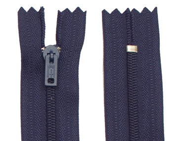 Niet-deelbare nylon rits 3 mm donker blauw (#919) 10 cm (12 stuks)