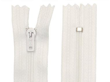 Niet-deelbare nylon rits 3 mm wit (#501) 25 cm (12 stuks)