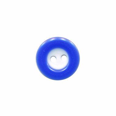 Knoop wit met kobalt blauwe rand 13 mm (ca. 100 stuks)