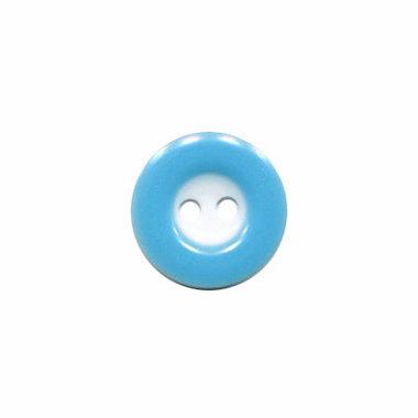 Knoop wit met licht blauwe rand 13 mm (ca. 100 stuks)