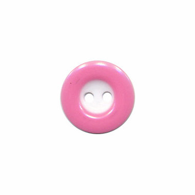 Knoop wit met roze rand 13 mm (ca. 100 stuks)