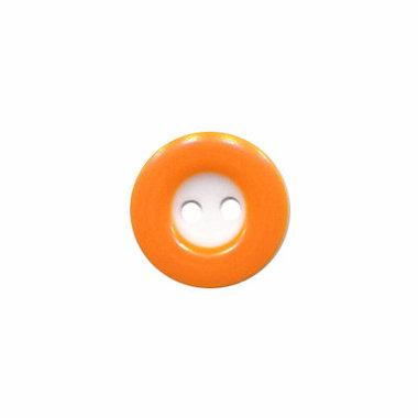Knoop wit met oranje rand 13 mm (ca. 100 stuks)