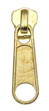 Ritsschuiver messing/goudkleurig voor metalen rits maat 5 (10 stuks)