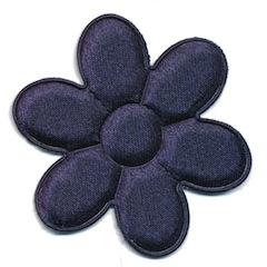 Applicatie bloem donker blauw satijn effen groot 45 mm (ca. 25 stuks)