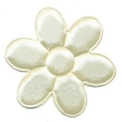 Applicatie bloem ivoor satijn effen groot 45 mm (ca. 100 stuks)