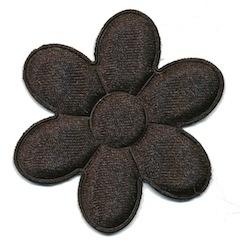 Applicatie bloem zwart satijn effen groot 45 mm (ca. 25 stuks)