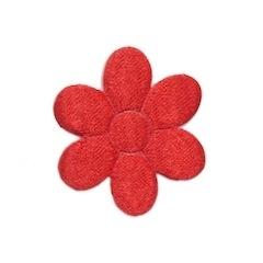 Applicatie bloem rood satijn middel 30 mm (ca. 25 stuks)