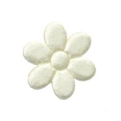 Applicatie bloem ivoor satijn effen middel 30 mm (ca. 100 stuks)
