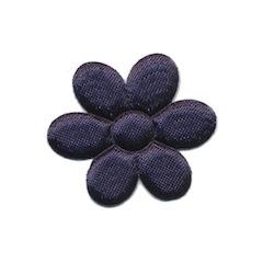 Applicatie bloem donker blauw satijn effen middel 30 mm (ca. 25 stuks)