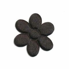 Applicatie bloem zwart satijn effen middel 30 mm (ca. 100 stuks)