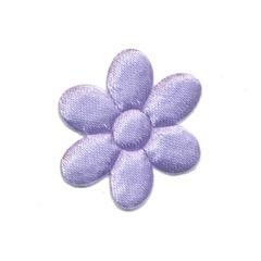 Applicatie bloem lila satijn effen middel 30 mm (ca. 25 stuks)