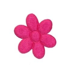 Applicatie bloem fuchsia satijn effen middel 30 mm (ca. 100 stuks)