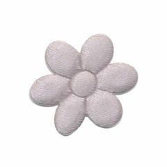 Applicatie bloem grijs satijn effen middel 30 mm (ca. 25 stuks)