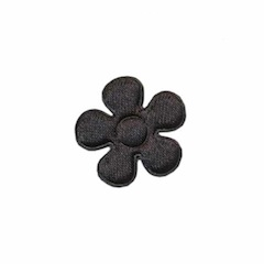 Applicatie bloem zwart satijn effen klein 20 mm (ca. 25 stuks)