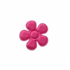 Applicatie bloem fuchsia satijn effen klein 20 mm (ca. 100 stuks)