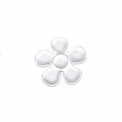 Applicatie bloem wit satijn effen klein 20 mm (ca. 100 stuks)