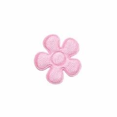 Applicatie bloem licht roze satijn effen klein 20 mm (ca. 25 stuks)