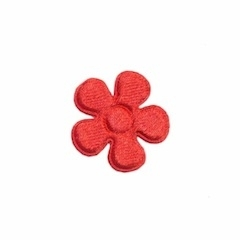 Applicatie bloem rood satijn effen klein 20 mm (ca. 100 stuks)