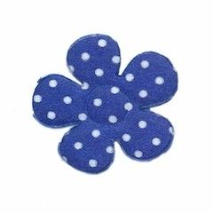 Applicatie bloem kobalt blauw met witte stippen satijn middel 35 mm (ca. 25 stuks)