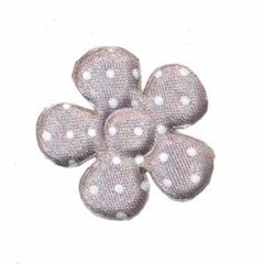 Applicatie bloem grijs met witte stippen satijn middel 35 mm (ca. 25 stuks)