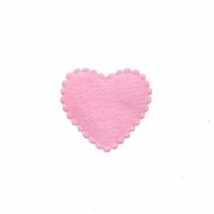 Applicatie hart roze vilt klein 20 x 20 mm (ca. 100 stuks)