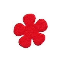 Applicatie bloem rood vilt middel 30 mm (ca. 100 stuks)