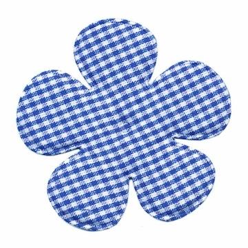 Applicatie geruite bloem kobalt blauw-wit EXTRA GROOT 65 mm (ca. 100 stuks)