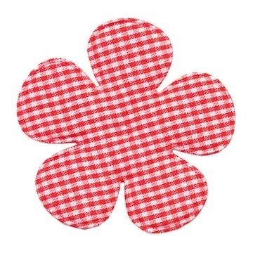 Applicatie geruite bloem rood-wit EXTRA GROOT 65 mm (ca. 25 stuks)