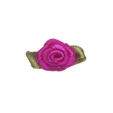 Roosje satijn knal roze op blad 15 x 25 mm (ca. 25 stuks)