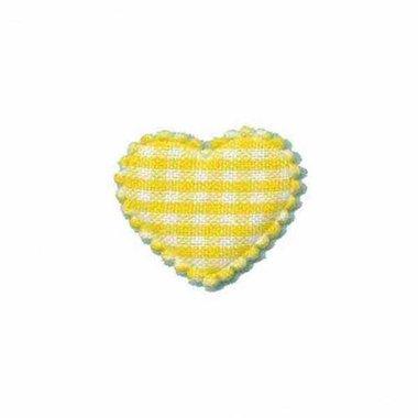 Applicatie ruitjes hart geel klein 25 x 20 mm (ca. 100 stuks)