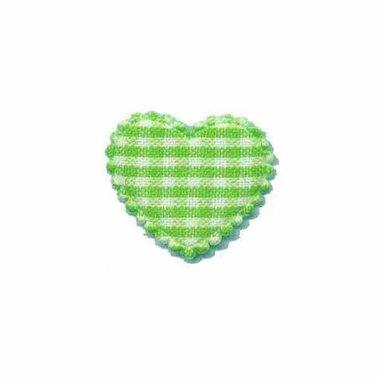 Applicatie ruitjes hart groen klein 25 x 20 mm (ca. 100 stuks)