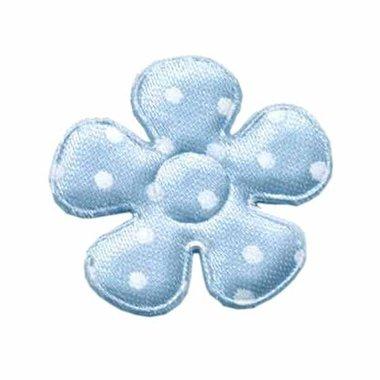 Applicatie bloem licht blauw met witte stippen satijn middel 35 mm  (ca. 25 stuks)