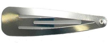 Klik-klak haarknipje zilverkleurig 5,5 cm  (ca. 20 stuks)