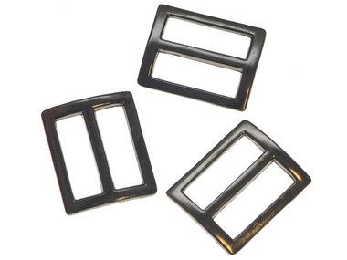 Metalen schuifgesp 'black nickel'-kleurig RECHTHOEKIG 25 mm (10 stuks)