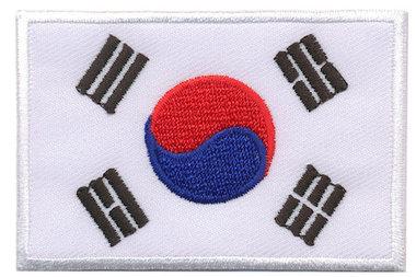 Opstrijkbare applicatie vlag Zuid Korea L (5 stuks)