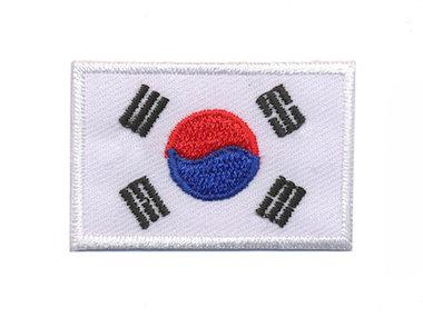 Opstrijkbare applicatie vlag Zuid Korea M (5 stuks)