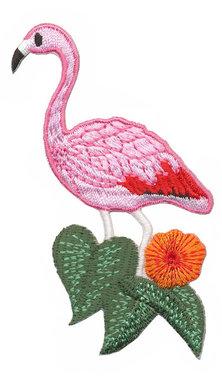 Opstrijkbare applicatie flamingo roze met groen blad (5 stuks)