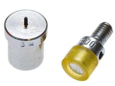 Stempelset voor 9 mm holnieten met enkele kop t.b.v. handpers