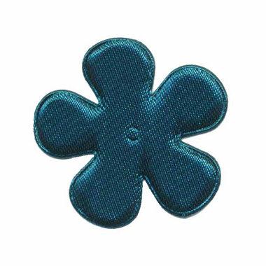 Applicatie bloem donker petrol satijn effen middel 35 mm (ca. 25 stuks)