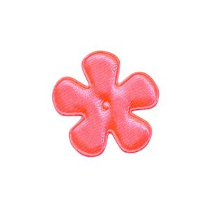 Applicatie bloem NEON roze satijn effen klein 25 mm (ca. 100 stuks)