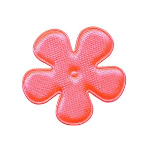 Applicatie bloem NEON roze satijn effen middel 35 mm (ca. 100 stuks)