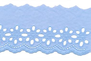 Broderie licht blauw KATOEN 75 mm (ca. 13,5 m)