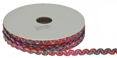 Multicolor zig zag band roze-meloen-grijs-metallic 9 mm (ca. 10 m)