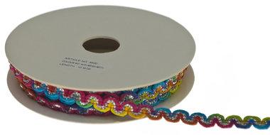 Multicolor zig zag band regenboog-metallic 9 mm (ca. 10 m)