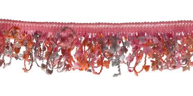 Elastisch franjeband met multicolor mini kwastjes roze-meloen-grijs ca. 30 mm (ca. 10 meter)