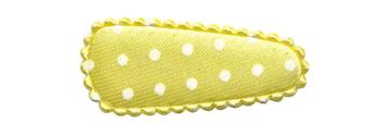 Haarkniphoesje satijn zachtgeel met witte stip 3 cm (ca. 100 stuks)