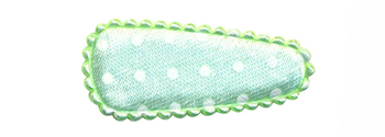 Haarkniphoesje satijn mintgroen met witte stip 3 cm (ca. 100 stuks)
