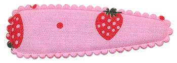 Haarkniphoesje roze met grote aardbeien print 5 cm (ca. 100 stuks)