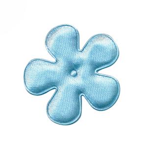 Applicatie bloem licht aqua satijn effen middel 35 mm (ca. 100 stuks)